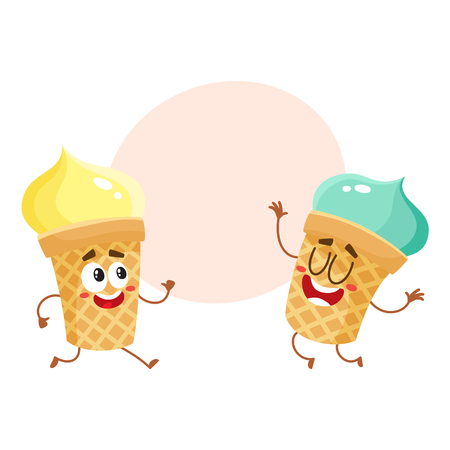 Two funny ice cream cup characters - strawberry and vanilla, cartoon style vector illustration with space for text. Couple of cute smiling strawberry and pistachio ice cream cone characters Иллюстрация