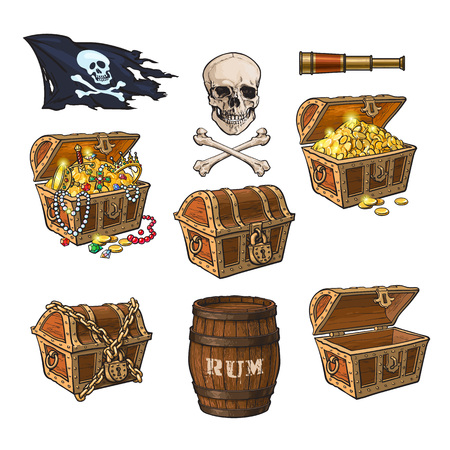 Pirate set - treasure chests, jolly Roger flag, rum barrel, field glass, skull and bones, hand drawn cartoon vector illustration isolated on white background. Hand drawn cartoon pirate set