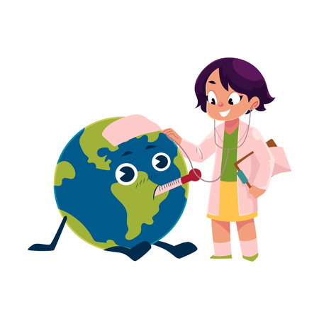 Girl playing doctor with Globe.