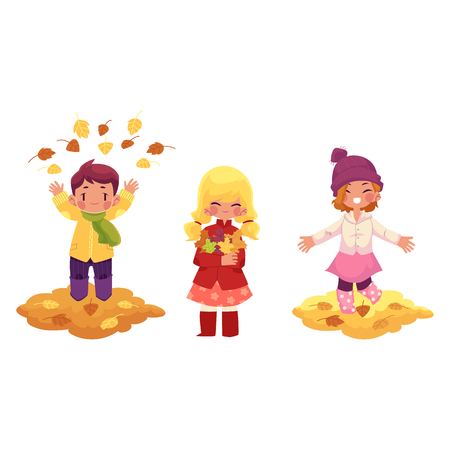 Kids playing with falling leaves character set. Ilustrace