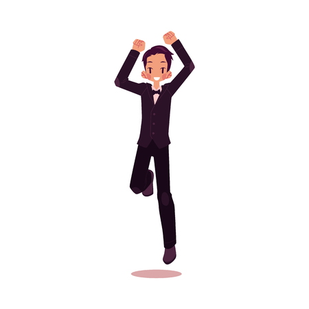 vector groom newlywed dancing happily flat cartoon illustration isolated on a white background. Wedding concept character design