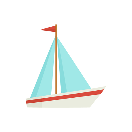 Little sailing ship, boat, sailboat, flat style cartoon vector illustration isolated on white background. Flat cartoon vector illustration of toy boat, sailing ship, sailboat with white sails Ilustração
