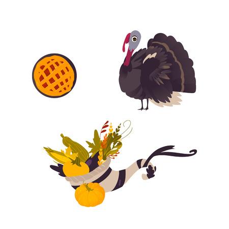 Farm hen turkey, pumpkin pie and cornucopia, Thanksgiving symbols, cartoon vector illustration isolated on white background. Cartoon turkey, fruit pie and cornucopia, Thanksgiving Day symbols
