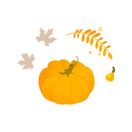 フラット漫画スタイルかぼちゃ、ハロウィン、感謝祭のシンボルの葉とハーブ、白い背景で隔離の漫画ベクトル図です。オレンジ カボチャ、ハロウ