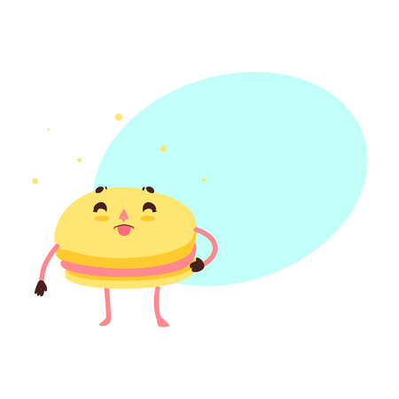 Vector sweet humanized yellow macaroon character with arms and legs. Flat cartoon isolated illustration on a white background with speech bubble