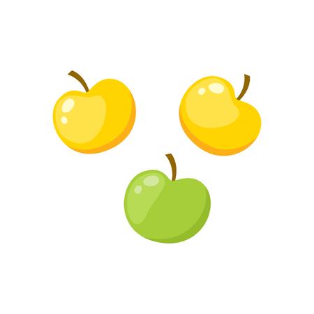 녹색과 노란색 과일의 만화 스타일 집합