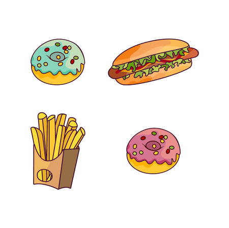 Vector sausage hot dog with salad and vegetables, donuts and potato fry, french fries set. Fast food flat cartoon isolated illustration on a white background.