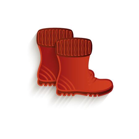 Un stivali di gomma marrone cartone animato vettoriale. Illustrazione isolato su uno sfondo bianco. Illustrazione di concetto di oggetto autunno. Archivio Fotografico - 84052311