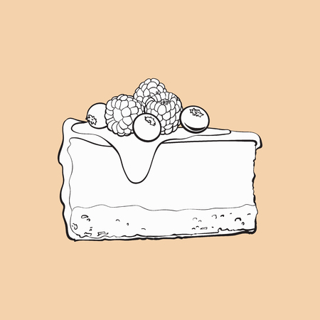 black and white hand drawn piece of cheesecake decorated with fresh berries, sketch style vector illustration isolated. Realistic hand drawing of piece, slice of cheesecake, cheese cake Illustration