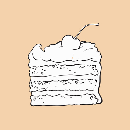 black and white hand drawn piece of classic layered cake with vanilla cream and cherry decoration, sketch style vector illustration isolated on color background. Realistic hand drawing of sweet cake Ilustração