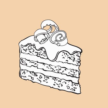 アイシングと削り、層状のチョコレート ケーキ、スケッチ スタイル ベクトル図の背景に分離の黒と白手描き下ろし作品。リアルな手描きの作品は  イラスト・ベクター素材