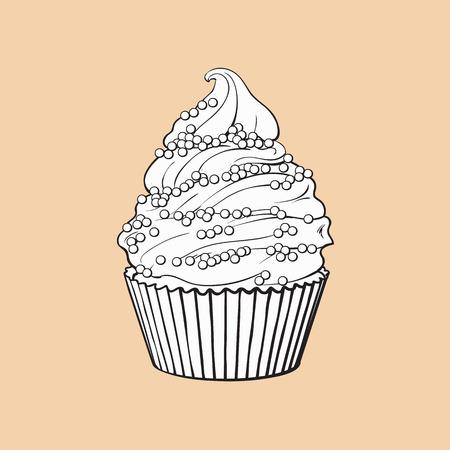 Cupcake Dessiné Main Noir Et Blanc Avec Crème Parfaite Tourbillonne Et Pépite Illustration De Vecteur De Style Croquis Isolé Sur Fond De Couleur