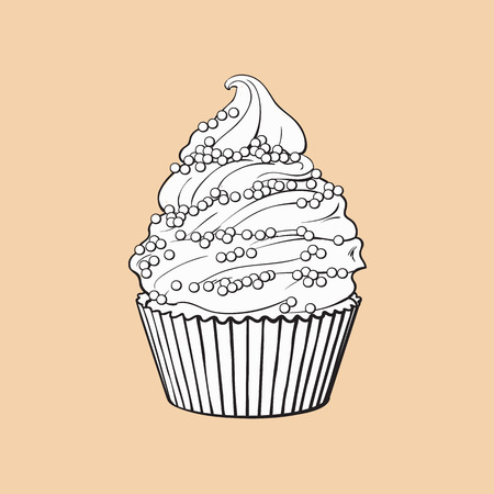 black and white hand drawn cupcake with perfect cream swirls and sprinkles, sketch style vector illustration isolated on color background. Realistic hand drawing of cupcake with cream and sprinkles