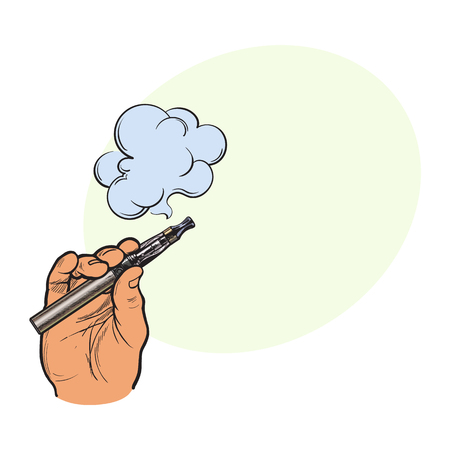 Male hand holding e-cigarette. 向量圖像