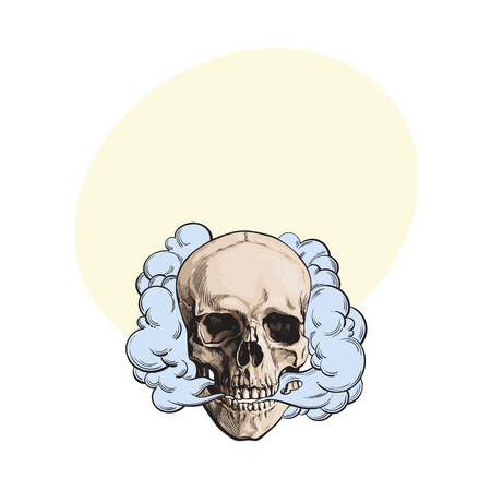 Hand drawn smoking skull emitting clouds of smoke.