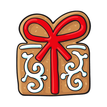 Glazed present, gift box shaped homemade Christmas gingerbread cookie, sketch style vector illustration isolated on white background. Christmas glazed gingerbread cookie in shape of present, gift box Illustration