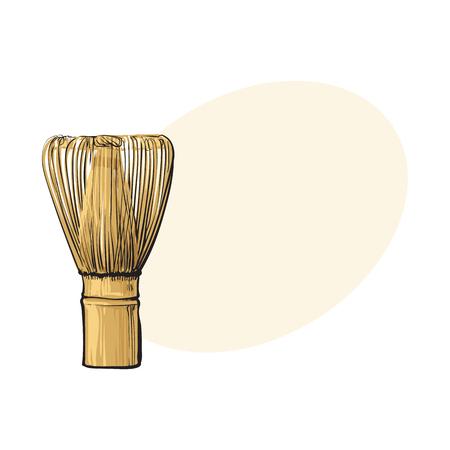Vista lateral de dibujo de madera batir para matcha preparación de té verde, ilustración vectorial de estilo de boceto con espacio para texto. Dibujo realista de la mano de bambú batir para el té verde de la matcha Foto de archivo - 84106195