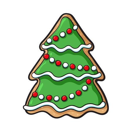 Glazed homemade Christmas tree gingerbread cookie, sketch style vector illustration isolated on white background. Christmas glazed gingerbread cookie in shape of decorated Xmas tree