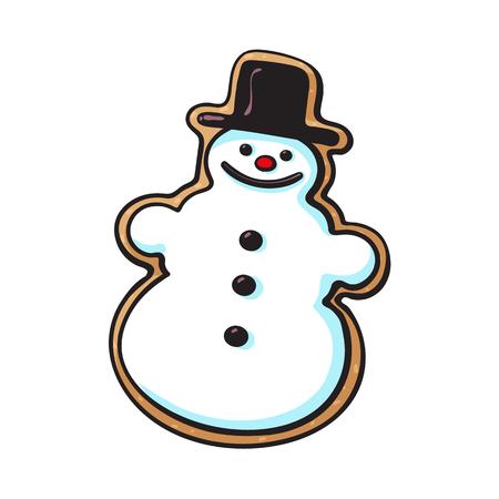 유약 된 눈사람 모양의 수 제 크리스마스 생강 빵 쿠키 스케치 스타일 벡터 일러스트 흰색 배경에 고립. 재미 있은 눈사람의 모양에 크리스마스 글레이