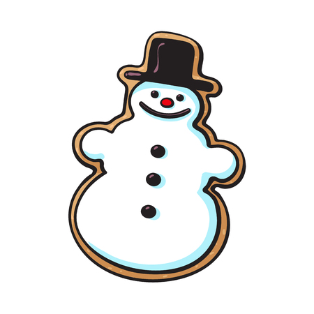 Glazed snowman-shaped homemade Christmas gingerbread cookie, sketch style vector illustration isolated on white background. Christmas glazed gingerbread cookie in shape of funny snowman