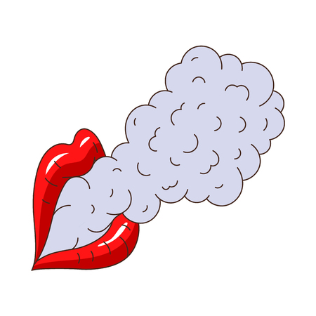 smoking woman: vector woman female lips mouth exhailing smoke, vaping. Flat cartoon isolated illustration on a white background. Vaping concept