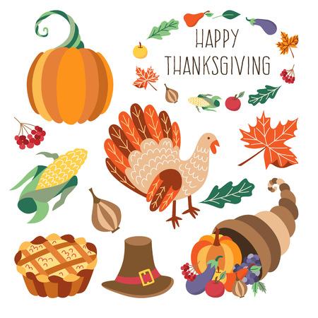 Vector conjunto de acción de gracias. Símbolos de otoño, cosecha y acción de gracias - cuerno de plátano, cornucopia, sombrero de calabaza pastel de manzana, hojas de pavo de hortalizas. Ilustración plana aislado en un fondo blanco. Foto de archivo - 83922373