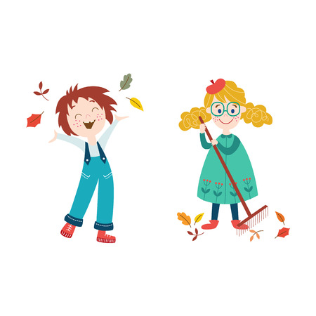 vector girls children wearing autumn clothing set, one girlthrowing autumn leaves up, another - collects it by rakes . cartoon isolated illustration on a white background. Autumn activity kids concept Stock Illustratie