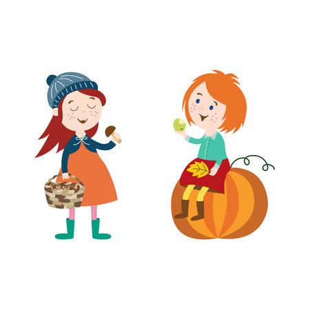Vektor Mädchen Kinder tragen Herbst Kleidung gesetzt, sitzt ein Mädchen am großen Kürbis Herbst Blätter in der Hand halten, sammelt eine andere Pilze im Korb Cartoon isoliert Illustration auf einem weißen Hintergrund Standard-Bild - 83922375