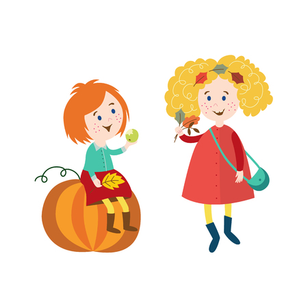 vector girls children wearing autumn clothing set, one girl sits at big pumpkin keeping autumn leaves in hand, another collects leaves cartoon isolated illustration on a white background 向量圖像