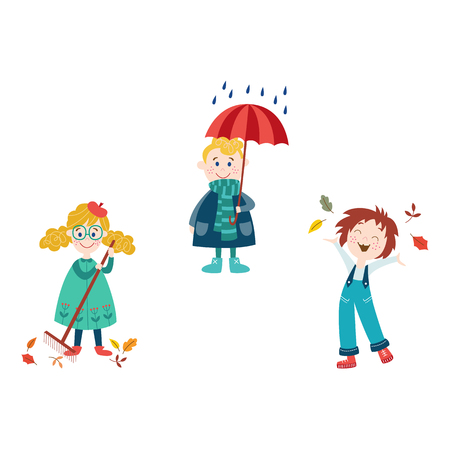 vector boy keeping umbrella under the rain, girls collect autumn falling leaves by rake and throw it up in autumn clothing set, cartoon isolated illustration on a white background Autumn kids activity Stock Illustratie