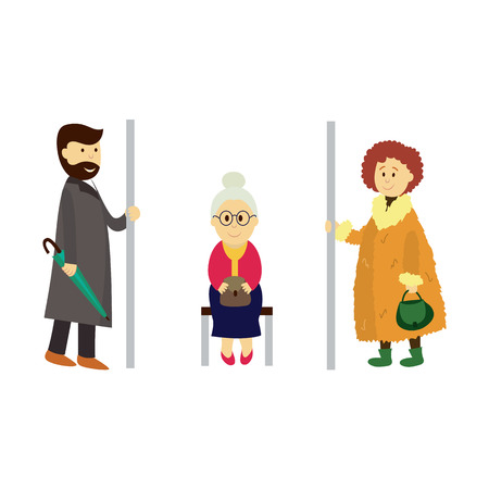 commuter: vector adult man, woman holds the handrail, grey-haired grandmother sitting on bench set. Flat cartoon illustration isolated on a white background. Public transport - subway, bus characters concept
