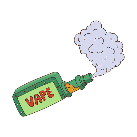 vector cartoon vape smoking. Isolated illustration on a white background. Hand drawn flat smoking device, vaping concept