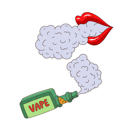 vector cartoon vape smoking, female lips exhailing smoke, steam set. Isolated illustration on a white background. Hand drawn flat smoking device, vaping concept
