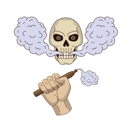 vector male hand holding vape , human skull with eyes and teeth smoking flat set. Isolated illustration on a white background. Man hand keeping electronic smoking cigarette, man skull. Vaping concept