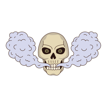 vector cartoon skull smoking, vaping isolated illustration on a white background. Human skull with eyes and teeth exhailing steam, smoke vapour. Vaping concept