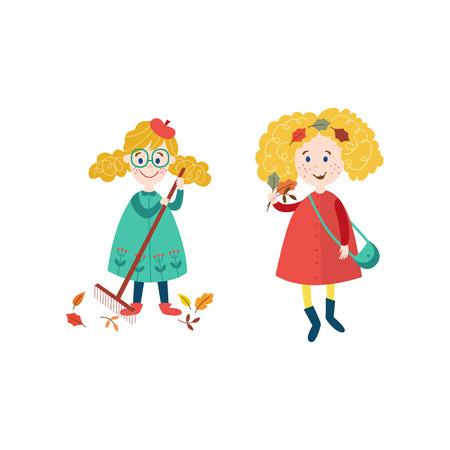 vector meisjes kinderen dragen herfstkleding verzamelen herfst vallende bladeren door rake set, cartoon geïsoleerde illustratie op een witte achtergrond