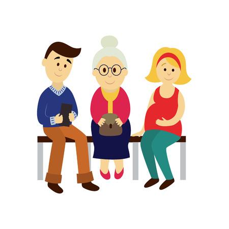 벡터 성인 남자, 여자, 대머리 할머니 공공 교통에 앉아 벤치 세트. 흰 배경에 고립 된 평면 만화 일러스트 레이 션. 대중 교통 - 지하철, 버스 문자 개념 일러스트