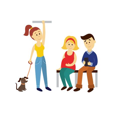 벡터 성인 여성의 지주 손잡이, 남자와 임신 한 여자가 앉아 설정합니다. 흰색 배경에 고립 된 평면 만화 그림 대중 교통 - 버스 지 하 지하철 문자 컨셉 일러스트