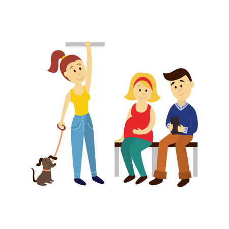 vector adult woman stays holding handrail, man and pregnant woman sits set. Flat cartoon illustration isolated on a white background Public transport - bus underground subway characters concept design Stock Illustratie