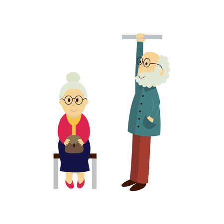 vector old woman sits on a public transport bench keeping purse at knees, old man stays holding handrail. Flat illustration isolated on a white background. Bus, underground ,subway characters concept