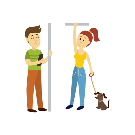 handrail: vector adult man woman stays holding handrail, man reads book , woman keeps dog leash set. Flat illustration isolated on a white background. transport bus underground subway characters concept design Illustration