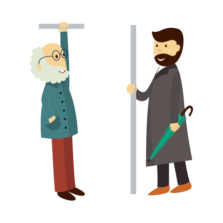 vector old grey-haired man in glasses stays holding handrail, adult man in coat stays keeping umbrella. Flat illustration isolated on a white background. Bus, underground ,subway characters concept