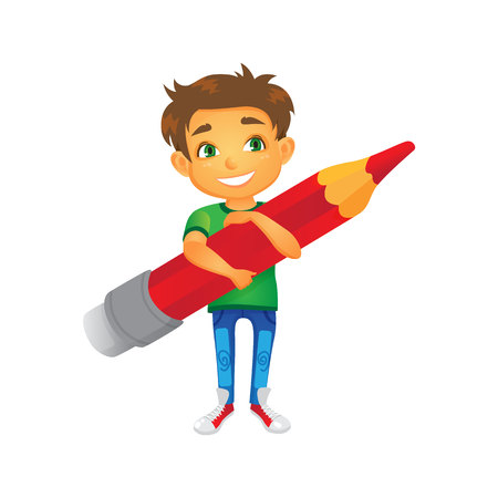 vector cartoon boy character keeps big pencil in hand smiling. Flat isolated illustration on a white background. Back to school concept Illustration