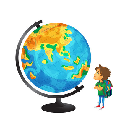 vector cartoon small boy, schoolboy wearing schoolbag looking at big globe studying geography. Isolated flat illustration on a white background. Back to school concept Ilustração