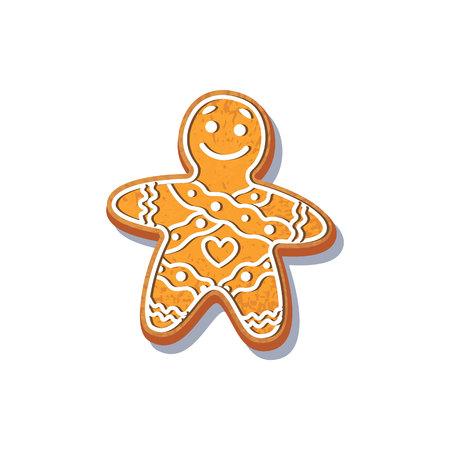 Gingerbread Man cookie vector isolated illustration on a white background. New year baked cartoon sweet cake man. Traditional winter holiday home treat