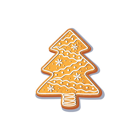 christmas tree illustration: Gingerbread christmas spruce tree cookie vector isolated illustration on a white background. New year baked candy cartoon sweet cake Traditional winter holiday home treat