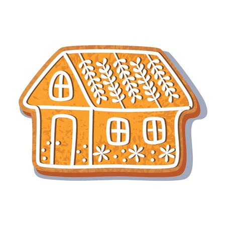 Gingerbread christmas house cookie vector isolated illustration on a white background. New year baked candy cartoon sweet cake. Traditional winter holiday home treat Çizim