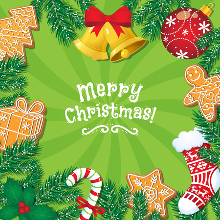 メリー クリスマス グリーティング カード、ポストカード、ジンジャーブレッド クッキー、鐘、キャンディケイン、バナー デザインは漫画ベクトル