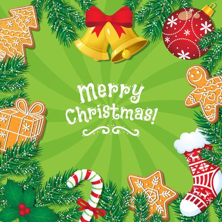 Grußkarte der frohen Weihnachten, Postkarte, Fahnendesign mit Lebkuchenplätzchen, Glocken, Zuckerstange, Karikaturvektorillustration. Weihnachtsfahne, Kartendesign mit Weihnachtsdekorationselementen Vektorgrafik