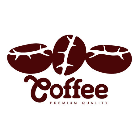 Vector Coffee seeds closeup. Coffee concept flat icon. line icon illustration isolated on a white background. Illustration